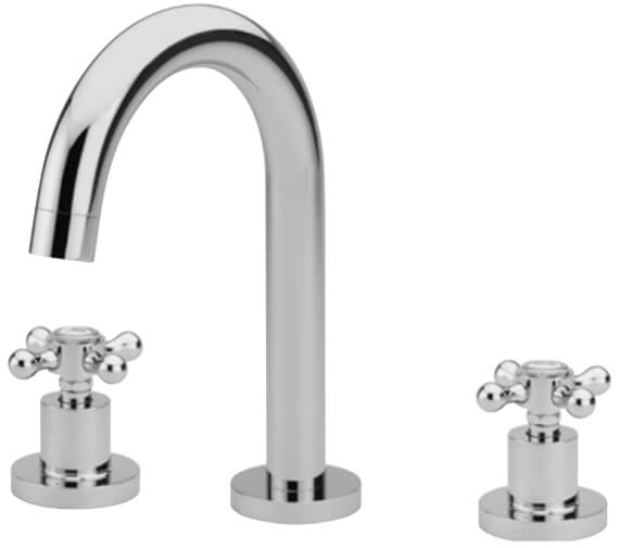 Tre Mercati Victoria 3 Hole Deck Mounted Basin Mixer Tap With Click Clack Waste