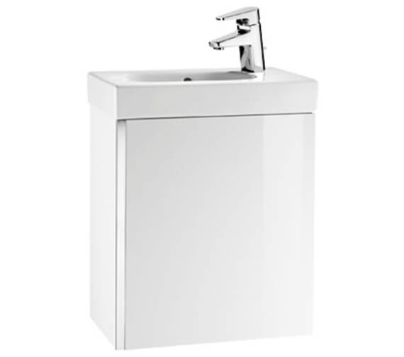 Roca Mini Unik Wall Hung Base Unit - Gloss White 450mm And Basin