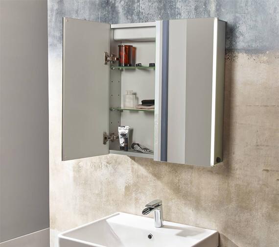 Tavistock Stride 650 x 650mm Single Door LED Illuminated Mirror Cabinet
