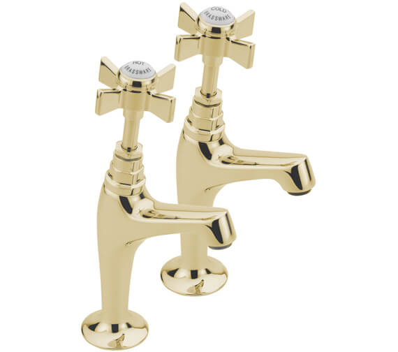 Additional image of Tre Mercati Florence Pair Of High Neck Pillar Taps
