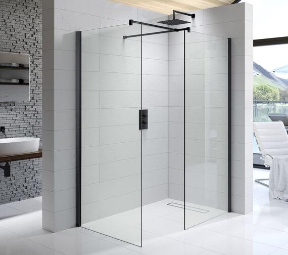 Alternate image of Kudos Ultimate Black 1952mm High Flat Glass Shower Panel