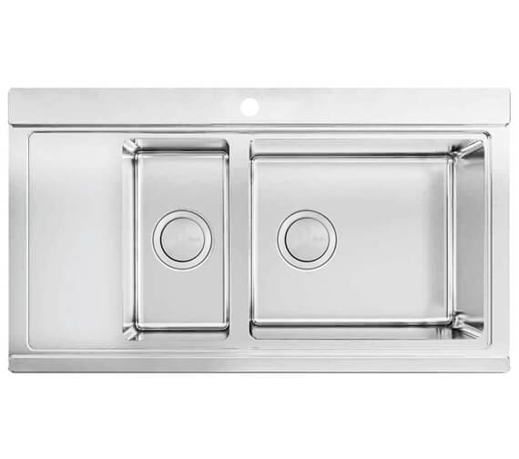 Clearwater Glacier 897 x 510mm 1.5 Bowl Kitchen Sink And Drainer