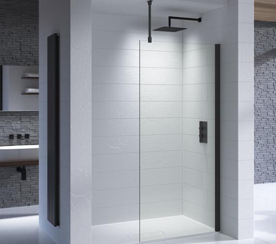 Kudos Ultimate Black 1952mm High Flat Glass Shower Panel