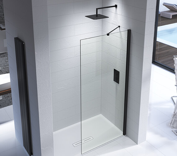 Additional image of Kudos Ultimate Black 1952mm High Flat Glass Shower Panel
