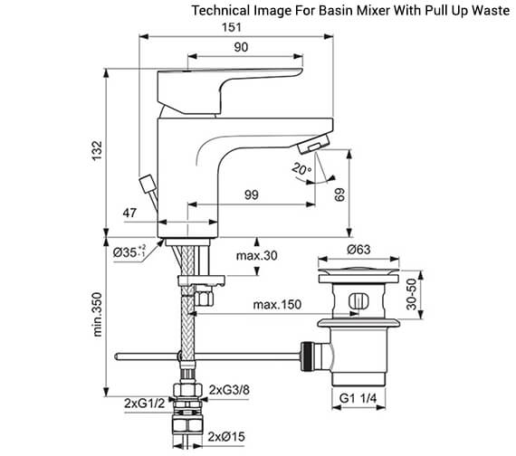 Additional image of Ideal Standard Tempo Slim Single Lever Basin Mixer Tap