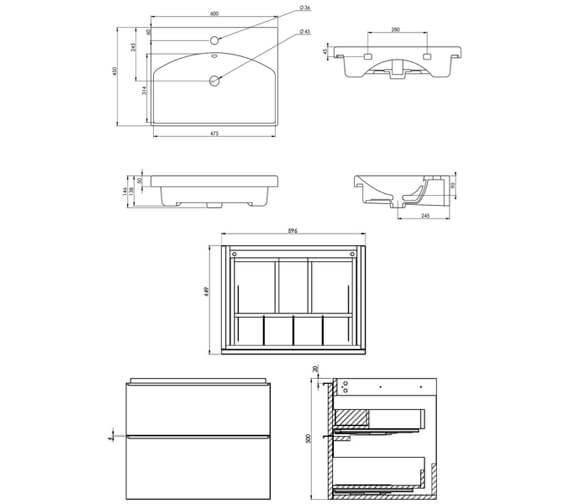 Technical drawing QS-V88904 / PR050W.W