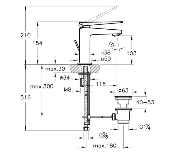Additional image for QS-V101280 Vitra Bathrooms - A42608VUK