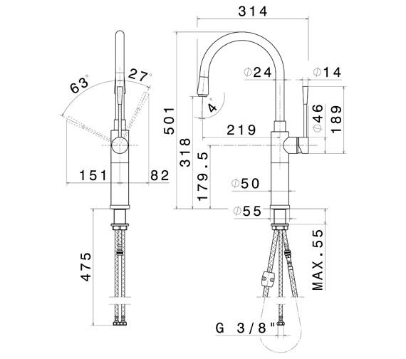 Technical drawing QS-V100755 / 2451CP