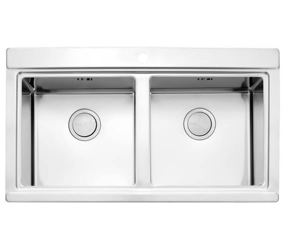 Clearwater Glacier 897 x 510mm Double Bowl Kitchen Sink And Drainer