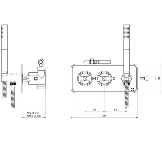 Alternate image of Crosswater Union Thermostatic Shower Valve With 2 Way Diverter And Handset