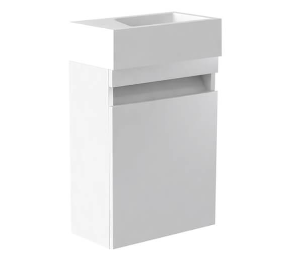 Alternate image of Kartell K-Vit Ikon Wall Mounted Single Door Cloakroom Unit And Basin 400mm