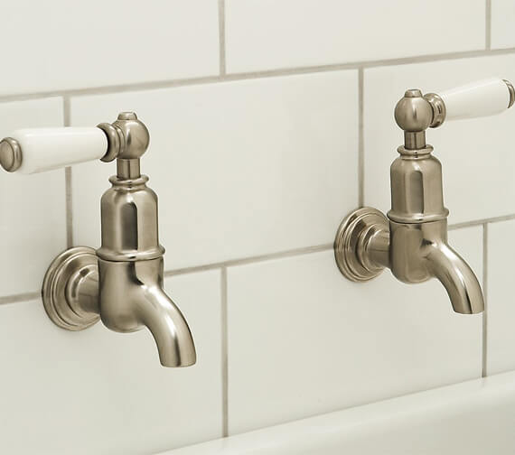 Perrin And Rowe Mayan Wall Mounted Kitchen Taps With Lever Handles