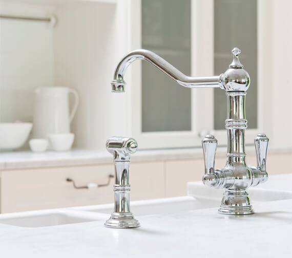 Alternate image of Perrin And Rowe Picardie Chrome Kitchen Sink Mixer Tap With Rinse