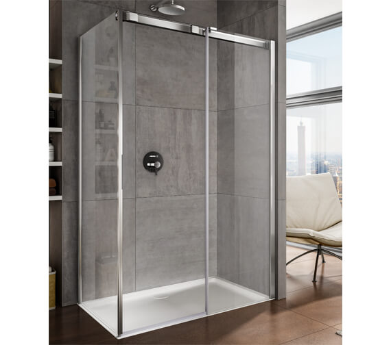 Additional image of Lakes Italia Luminosa 1000mm Right Hand Frameless Sliding Door With Side Panel
