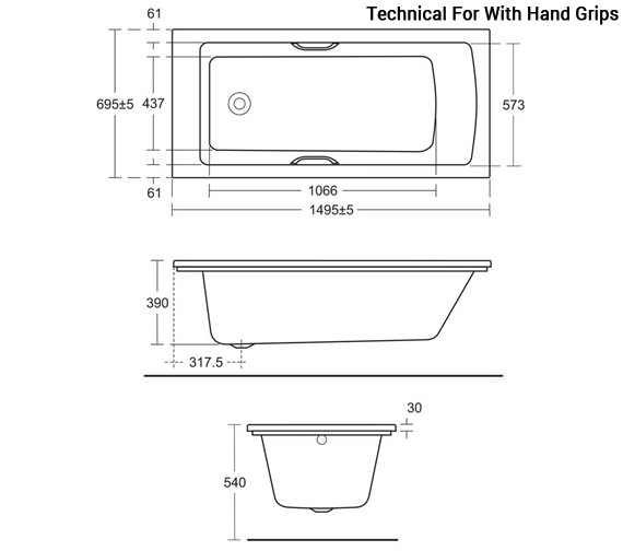 Additional image of Ideal Standard Tempo Arc 1500 x 700mm Rectangular Idealform Bath