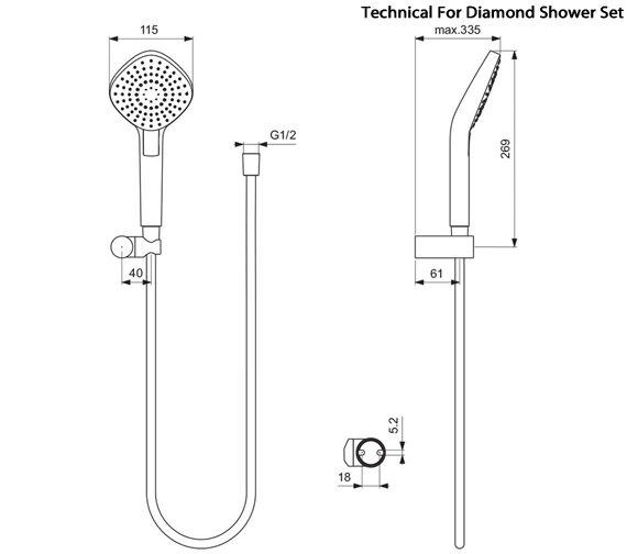 Additional image of Ideal Standard Idealrain Evo Shower Set With Multi Function Handset