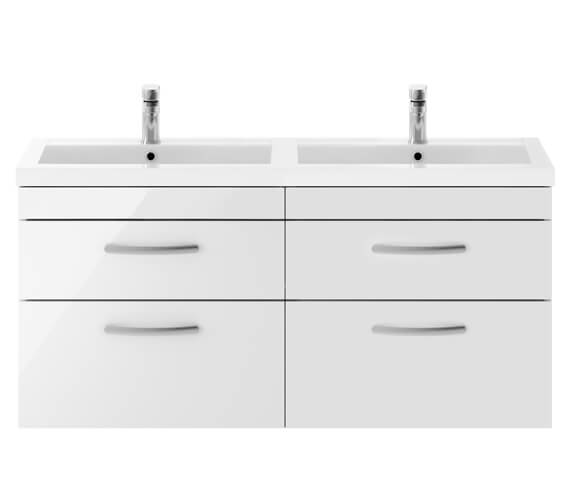 Premier Athena 1200mm Wall Hung 4 Drawer Cabinet With Double Basin
