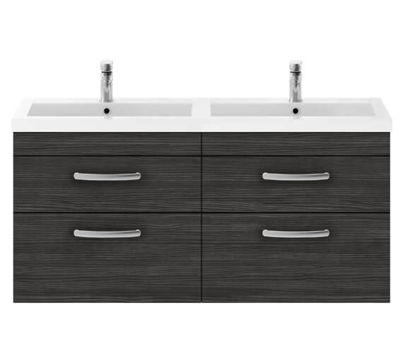 Alternate image of Premier Athena 1200mm Wall Hung 4 Drawer Cabinet With Double Basin