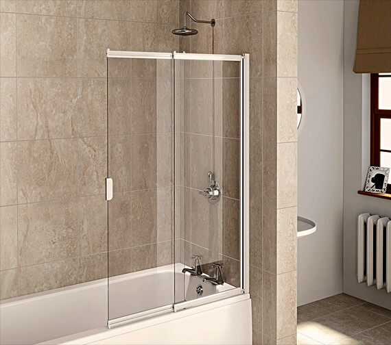 Aqualux Aqua 4 White 2-Panel Slider Bath Screen 820mm - FBS0326AQU