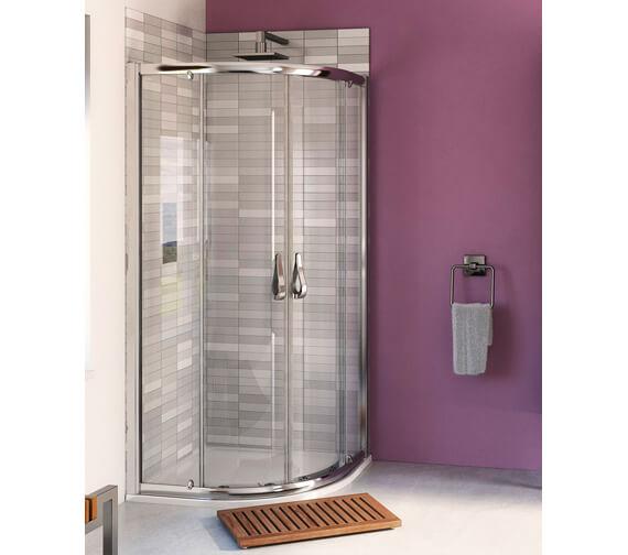 Aqua 6 Polished Silver Finish Quadrant Shower Enclosure 900mm