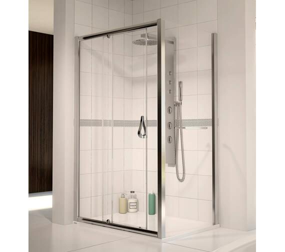 Aqua 6 Polished Silver Frame Sliding Shower Door 1700mm