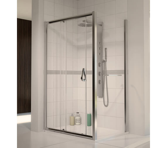 Aqua 6 Sliding Shower Door 1500mm Polished Silver