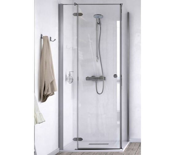 Aqualux ID Match Time 1000 x 1000mm Hinged Shower Door With Side Panel