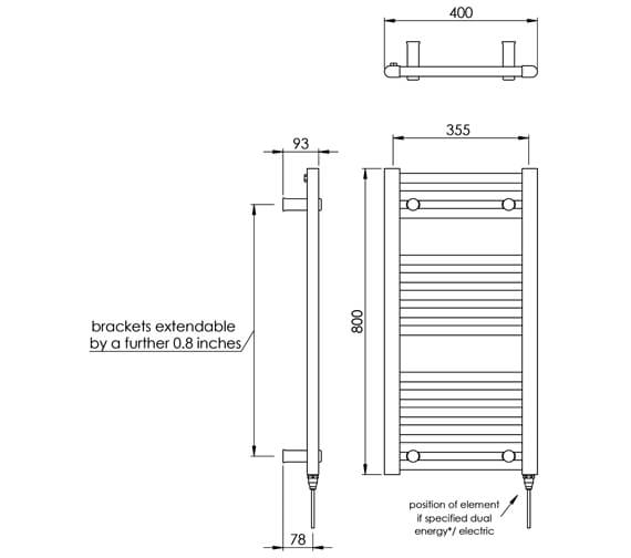 Technical drawing QS-V88506 / MD001 MS0800400WH
