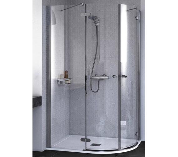 Aqualux ID Match Round 1200 x 900mm Offset Quadrant Shower Enclosure