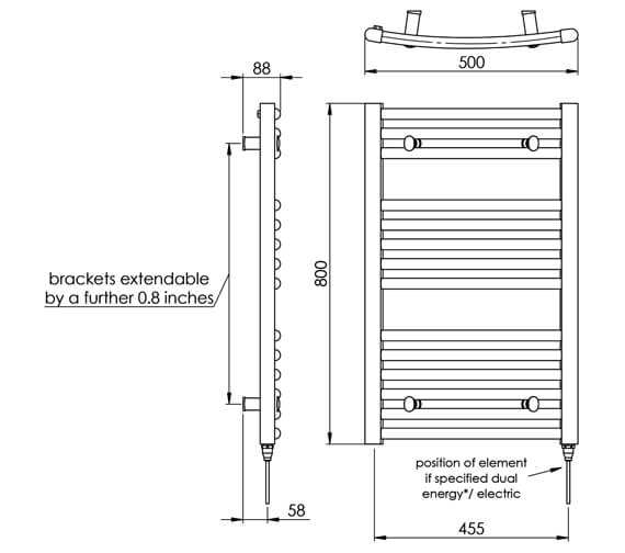 Technical drawing QS-V88514 / MD002 MS0800500WH