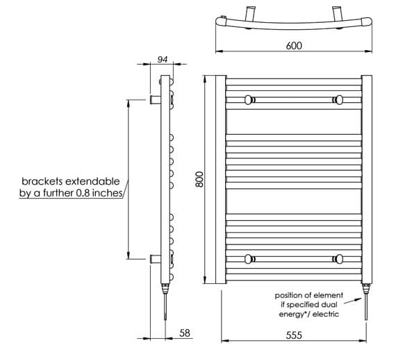 Technical drawing QS-V88515 / MD002 MS0800600WH
