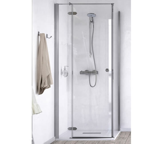 Aqualux ID Match Time 900 x 900mm Hinged Shower Door With Side Panel