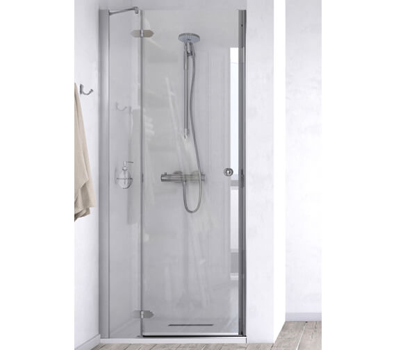 Aqualux ID Match Time 900mm Recess Hinged Door With Fixed Panel