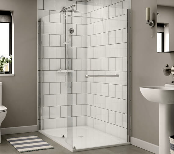 Aqualux Shine 6 Walk In Shower Enclosure Curved With Slim Line Shower Tray