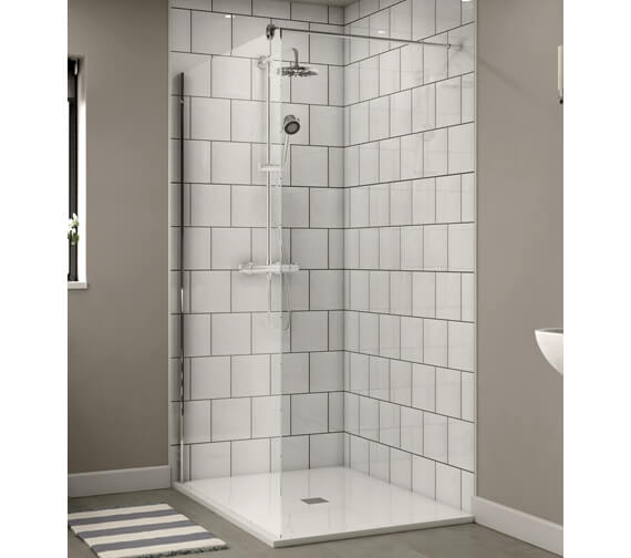 Aqualux Shine Shower Panel 1200mm Polished Silver - FEN1014AQU