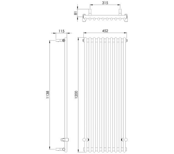 Additional image of Vogue Ordinate 1200mm High Mildsteel Heating Only Designer Radiator