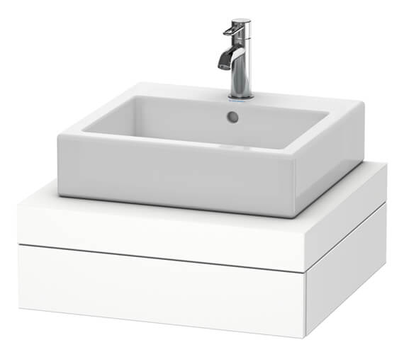 Duravit Fogo 600 x 550mm White Matt Central Cut Out Console With 1 Drawer