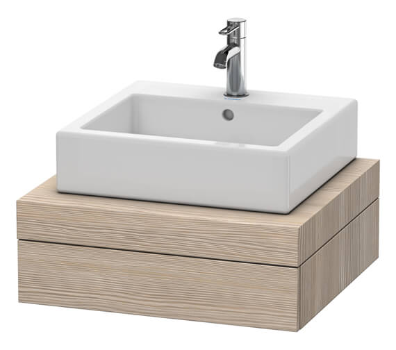 Additional image of Duravit Fogo 600 x 550mm White Matt Central Cut Out Console With 1 Drawer