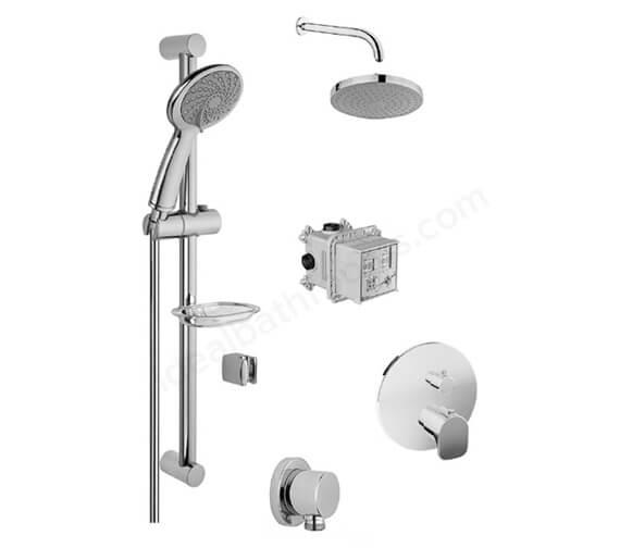 VitrA 2 Way X-Line Shower Set With Samba Handshower And Rain L Showerhead