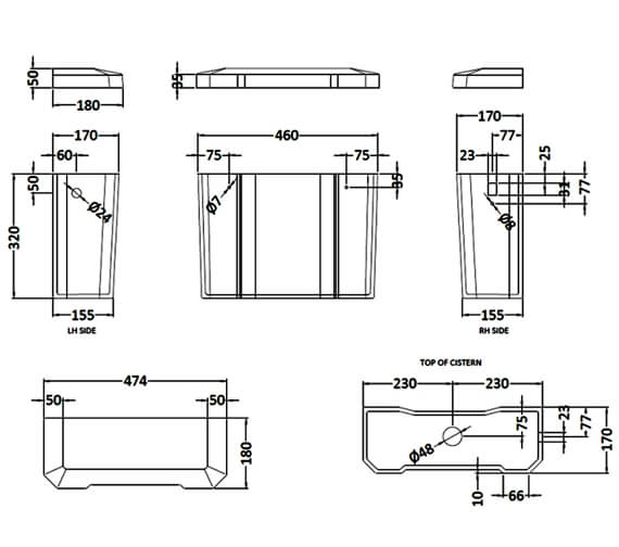 Additional image of Hudson Reed Richmond High Level WC Pan With Cistern And Flush Pipe Kit