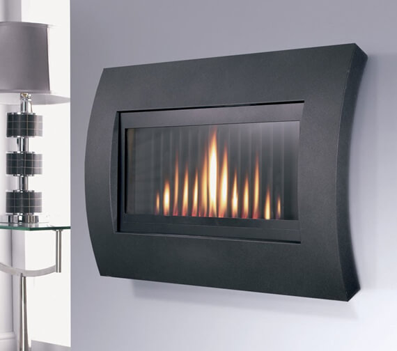 Flavel Curve Black Wall Hung Remote Control Gas Fire