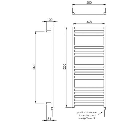 Additional image of Vogue Chube 500mm Width Stainless Steel Straight Towel Rail