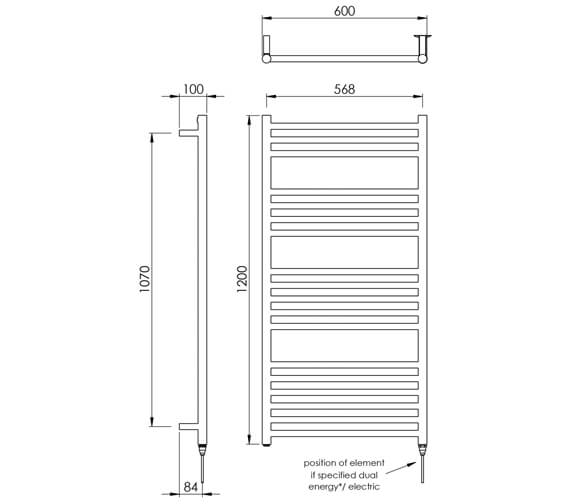 Additional image of Vogue Chube 600mm Width Stainless Steel Straight Towel Rail