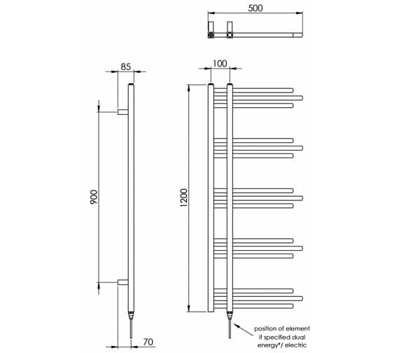 Technical drawing QS-V88525 / MD046 MS1200500WH