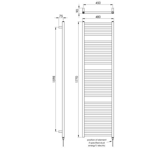 Alternate image of Vogue Squire 480mm Width Mildsteel Straight Towel Rail