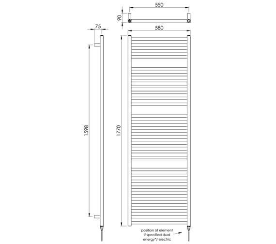 Alternate image of Vogue Squire 580mm Width Mildsteel Straight Towel Rail