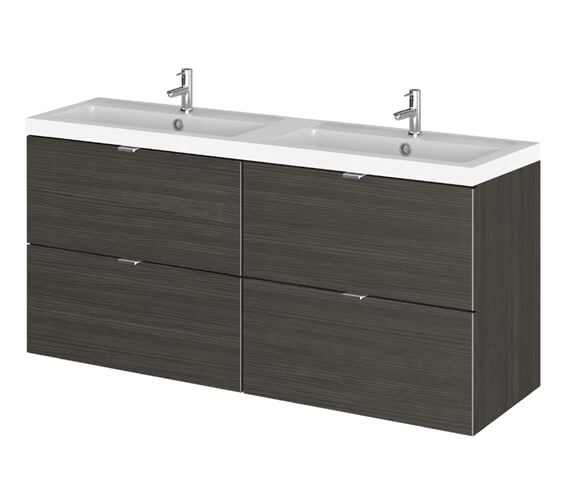 Alternate image of Hudson Reed Fusion 1200mm Wall Hung Full Depth 4 Drawer Vanity Unit And Basin