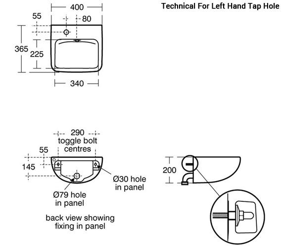 Additional image of Armitage Shanks Contour 400mm Back Outlet Washbasin