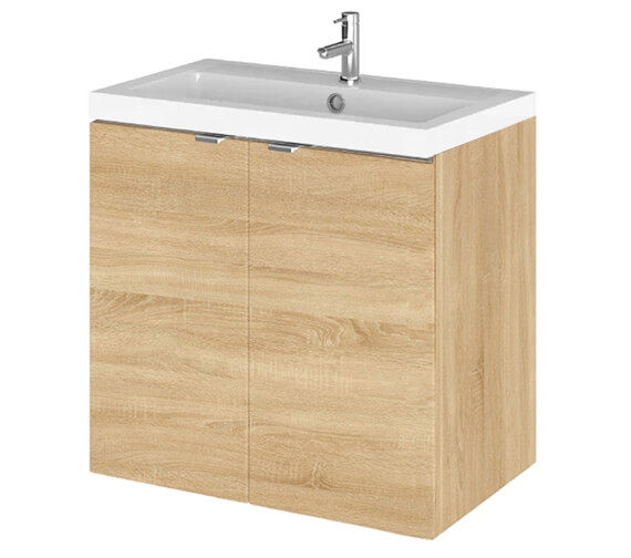 Additional image of Hudson Reed Fusion 600mm Wall Hung Full Depth 2 Door Vanity Unit And Basin