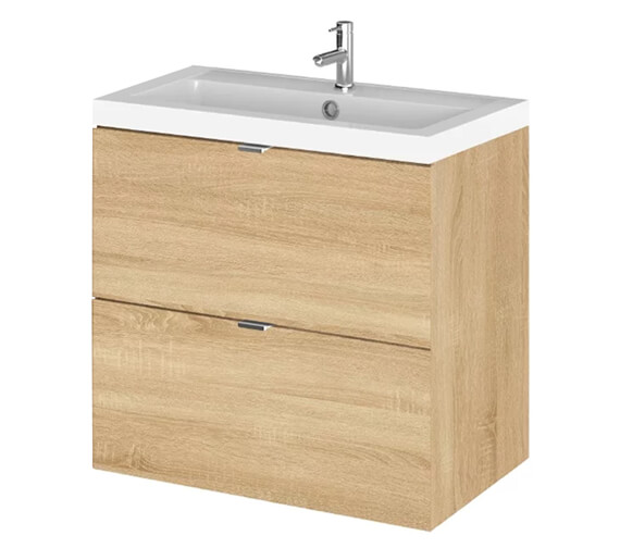 Additional image of Hudson Reed Fusion 600mm Wall Hung Full Depth 2 Drawer Vanity Unit And Basin